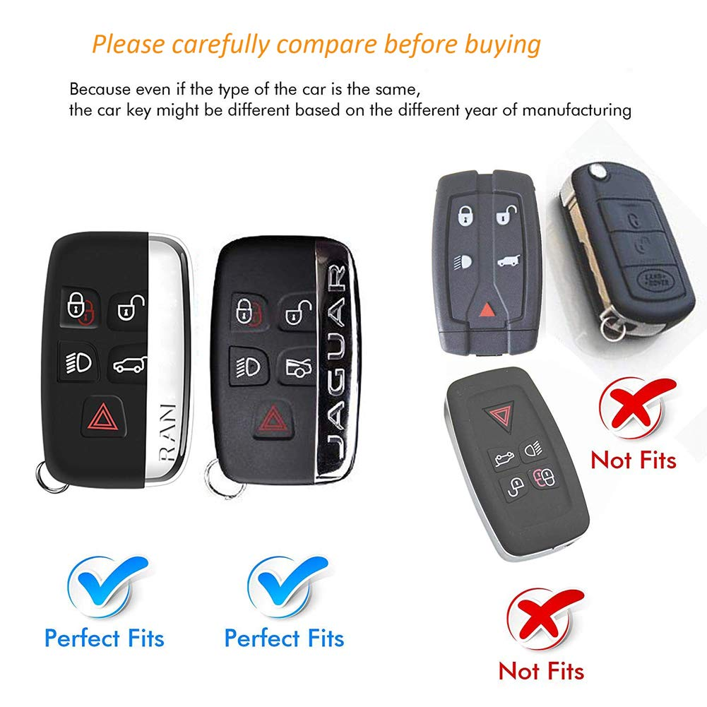 Kelay 5 Buttons Key Fob Cover Case Soft TPU Full Protection Compatible with Land Rover Discovery Sport Evoque Aurora Jaguar XF XJ XJL XEL XFL F-pace silver