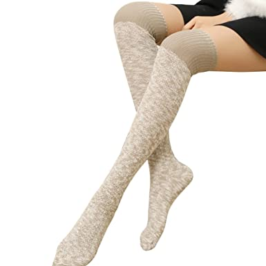 c47289fbc9e Greenlans Over Knee Wool Knit Long Socks Winter Thigh-high Women Fashion Warm  Stockings  Amazon.co.uk  Clothing
