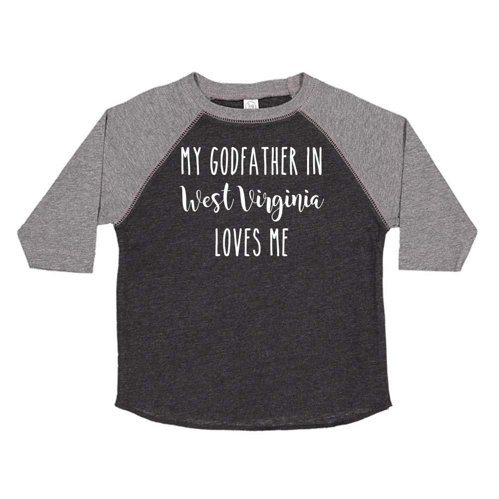 My Godfather in West Virginia Loves Me Toddler//Kids Raglan T-Shirt