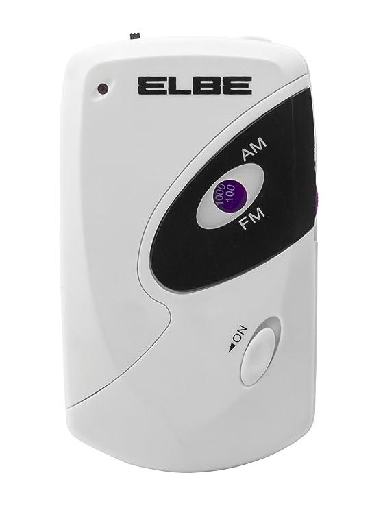 Elbe RF-51-MIN - Radio de bolsillo, sintonizador analógico AM/FM, auriculares incluidos, color blanco: Amazon.es: Electrónica