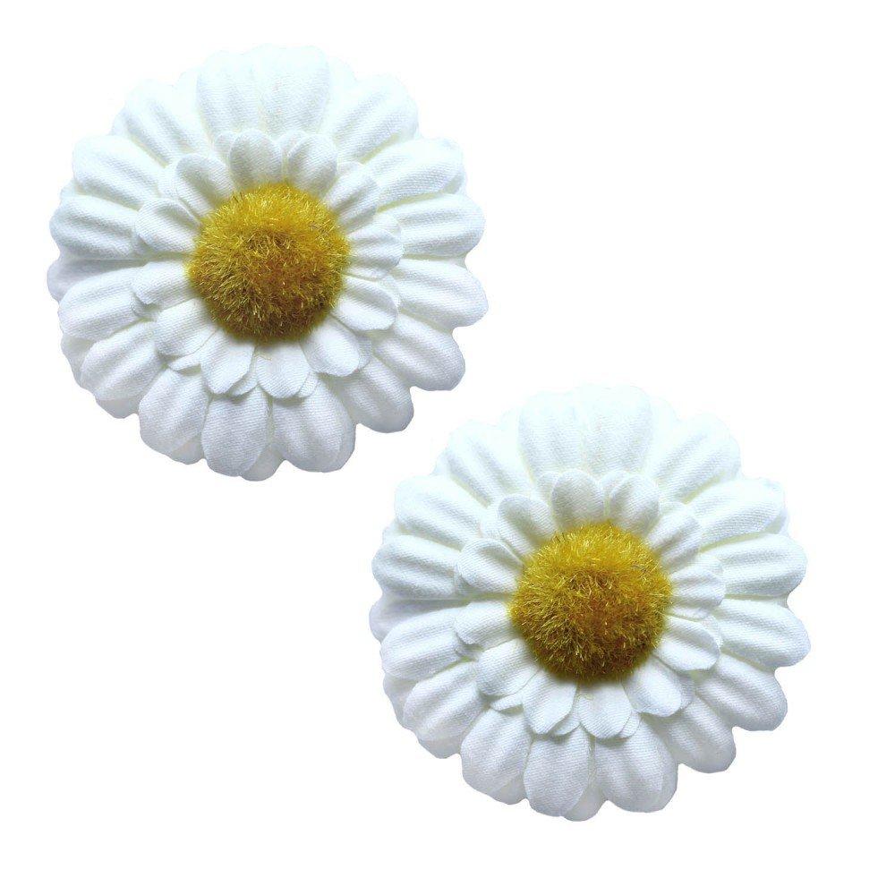 tumundo 2 barrettes à noeuds pince épingle à cheveux floraison fleur pâquerette hippie flower power bleu blanc rose vif fuchsia Couleur:beige