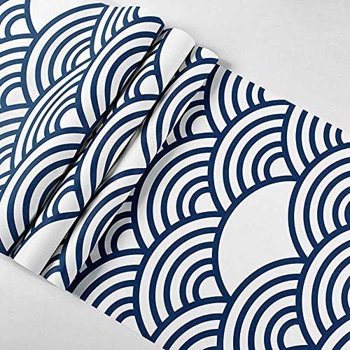 gcywj 壁紙シール 波の図案 DIYリフォーム 3D立体壁紙 模様替え おしゃれ 高級感 和風 和モダ ラーメン屋 寿司屋 料理屋 浮世絵壁紙 簡単貼付シール 店/家の装飾 壁用53CM×10M