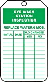 "Accuform TRS245CTP PF-Cardstock Inspection Record Tag, Legend""Eye WASH Station Inspection"", 5.75"" x 3.25"", Green on…"