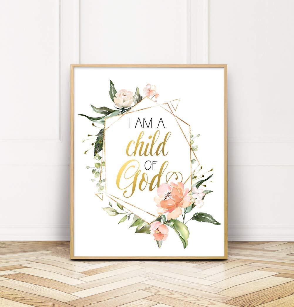 I Am A Child Of God Floral Geometric Floral Nursery Wall Art Decor Unframed Handmade