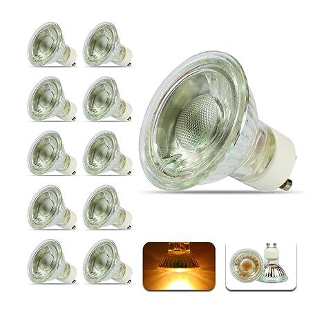 GU10 5W COB Bombillas LED Spotlight 3000K Blanco cálido, 90 Ángulo de haz 380 Lumen