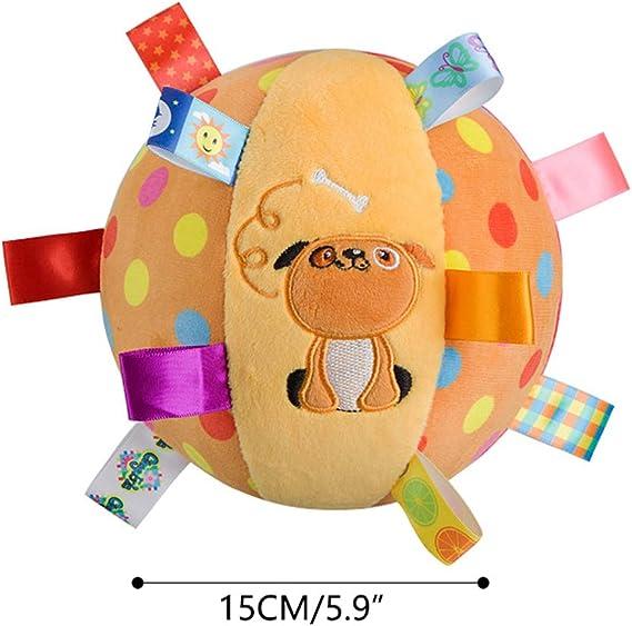 Pelota de juguete amarillo del bebé del perro con coloridas ...