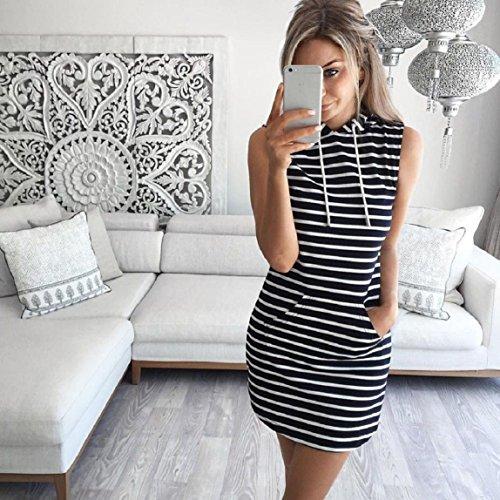 con capucha Negro Moda vestido Culater sin verano las mangas de ocasional mujeres del 1qq7w4Pn