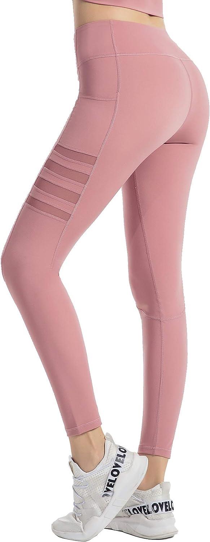 EVELIFE Mujer Gimnasio Pantalones de Yoga con Bolsillos Control de Abdomen Leggings Cintura Alta Pantal/ón Deportivos Ajustados El/ásticos