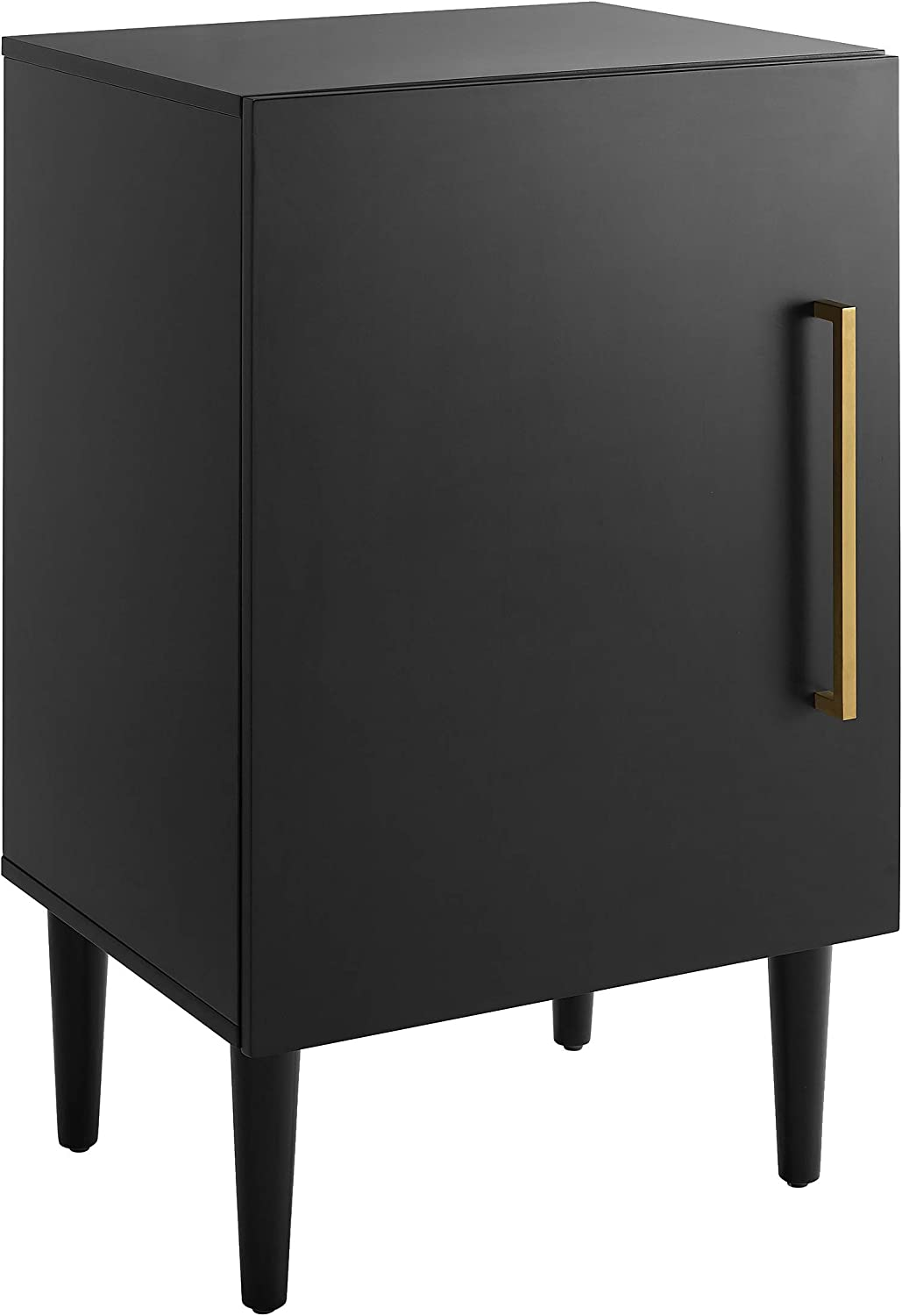 Crosley Furniture Everett Mid-Century Modern Record Player Stand, Matte Black