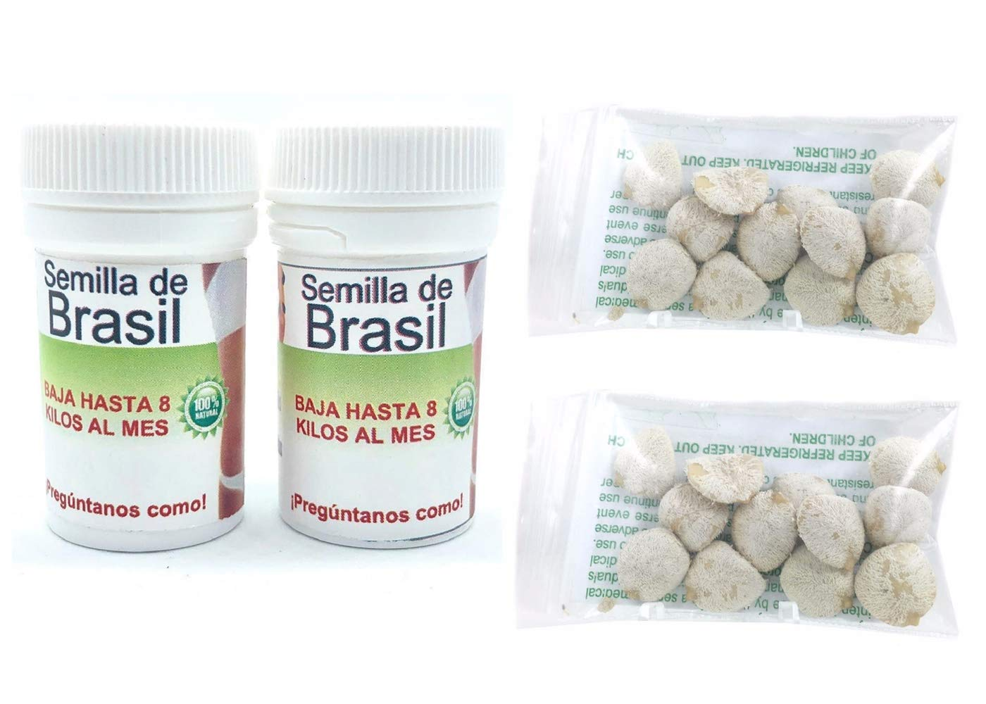 2 Bottle Semilla de Brasil Seed Original Brazilian Natural Weight Loss 60 Seeds For 60 day AND 2 Pack Indian Nut 24 Seeds For Weight Loss