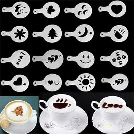 joyliveCY 12/piezas Cappuccino caf/é plantillas para decorar capuchinos,