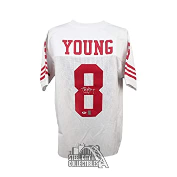 11cbe1fa6cd Steve Young Autographed Signed San Francisco 49ers Custom White Football Jersey  Signature - Beckett Authentic