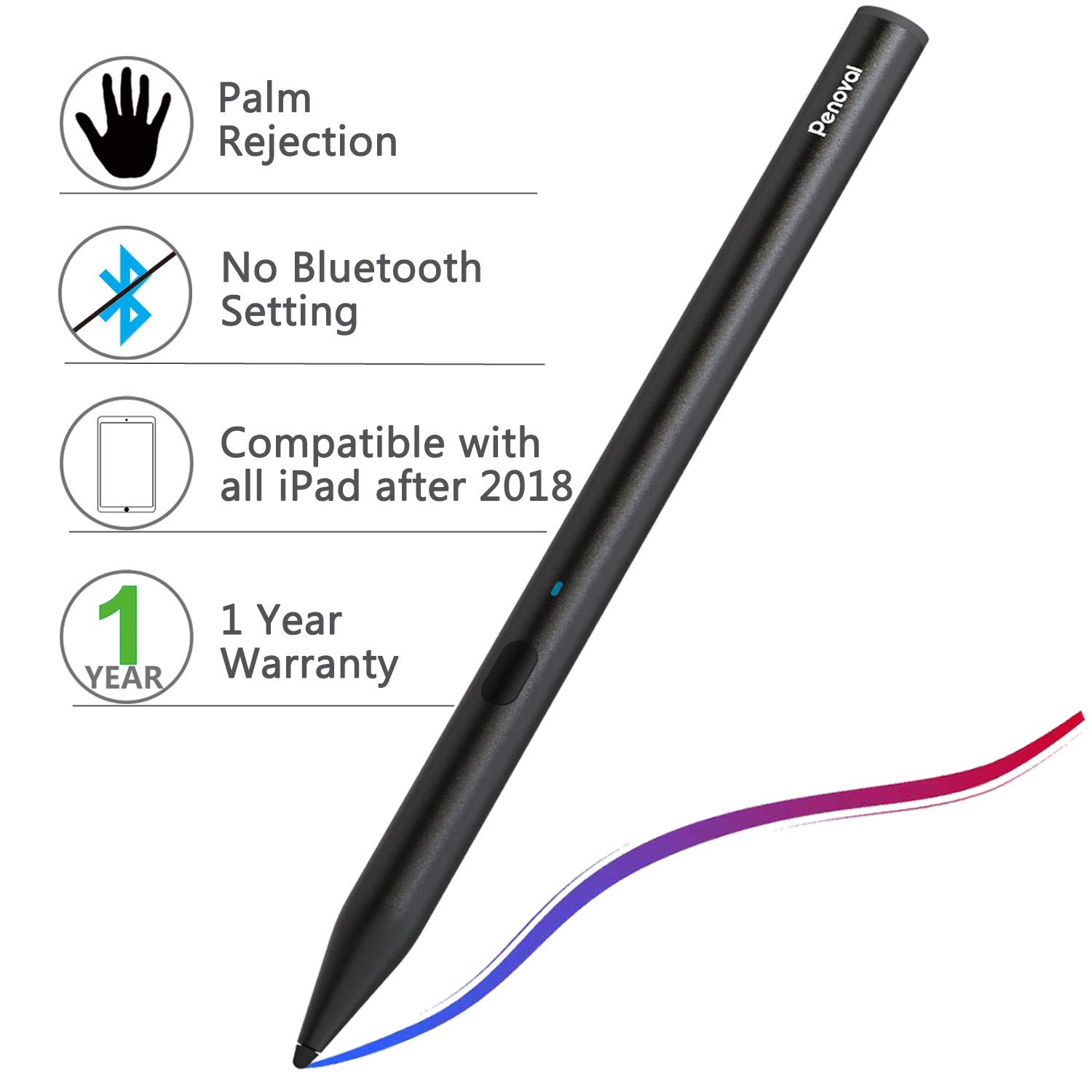 Stylus Pen for Apple iPad,Penoval Palm Rejection iPad Pencil for iPad Pro,iPad 2018,iPad air,iPad Mini(5th Gen) Active Capacitive Rechargeable Digital Pen with 2mm Replaceable Fine Point Rubber Tips by KABCON
