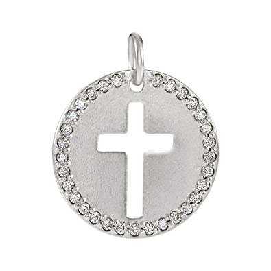 57e8f724ce851 Amazon.com: Sterling Silver and 0.08 Ctw Diamond Disc Cross Charm or ...