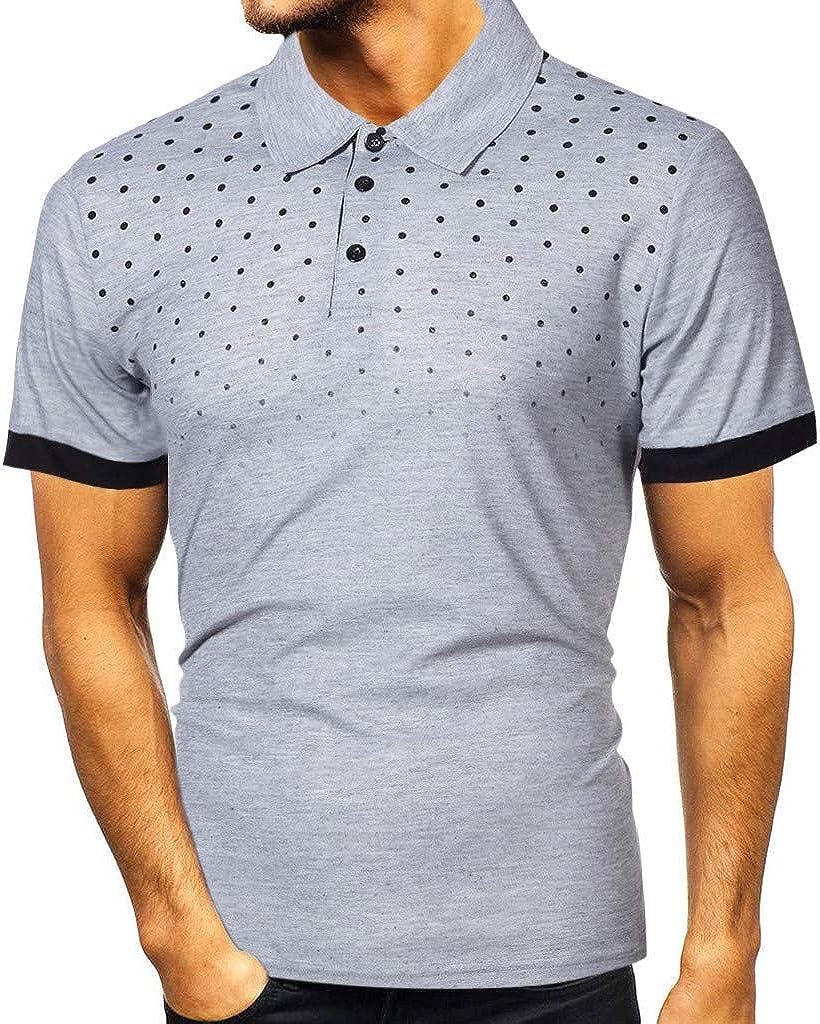 S-5XL 2020 Polos de Tennis Homme Mode Chemises Homme Manches Courtes Hommes Casual Slim Top Tee Haut Dot Imprimer T-Shirt Personnalit/é Top Blouse Cebbay