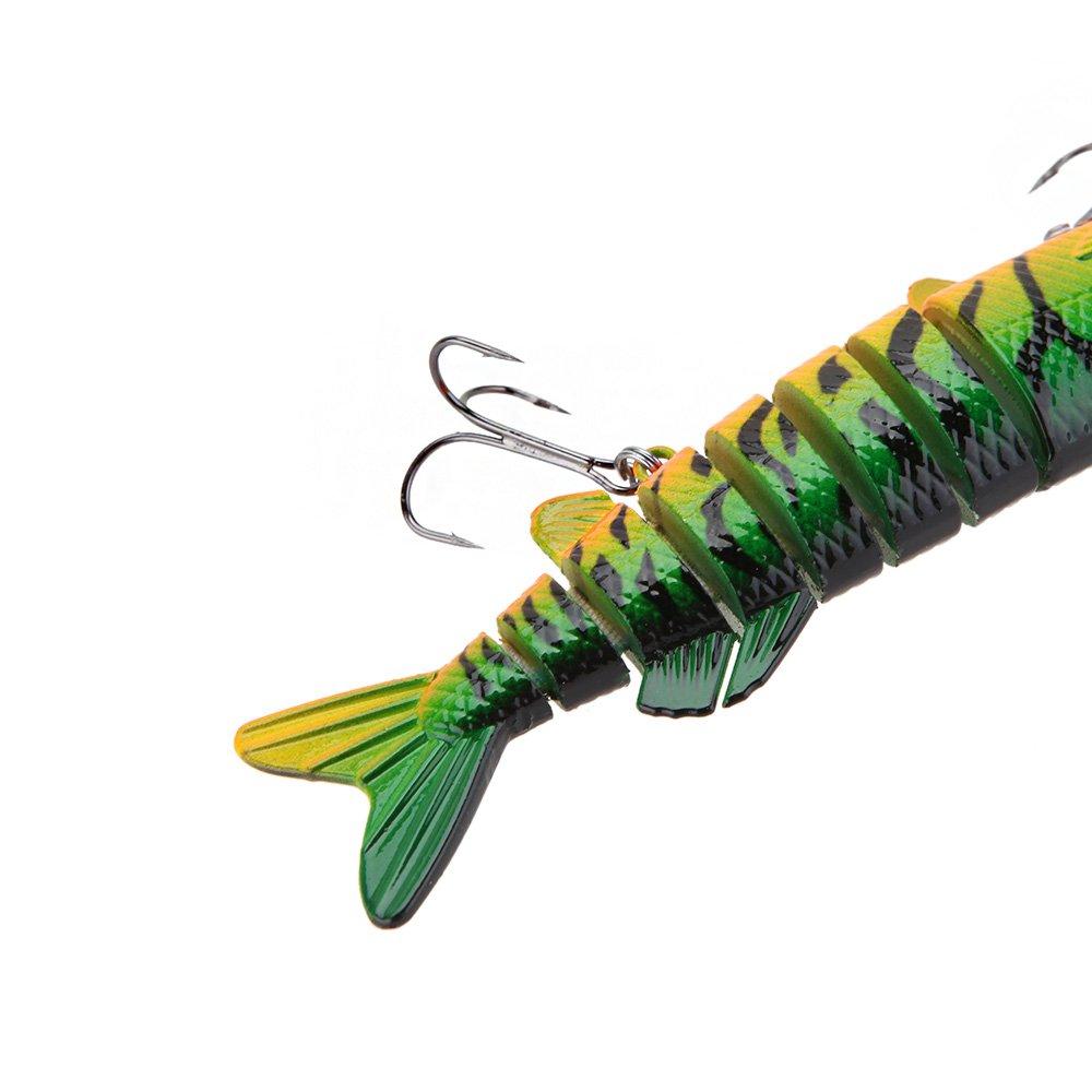 Lixada Fishing Lure,5'' Lifelike Multi Jointed 9-segement Pike Muskie Hard Minnow Bait Swimbait Crankbait Treble Hook