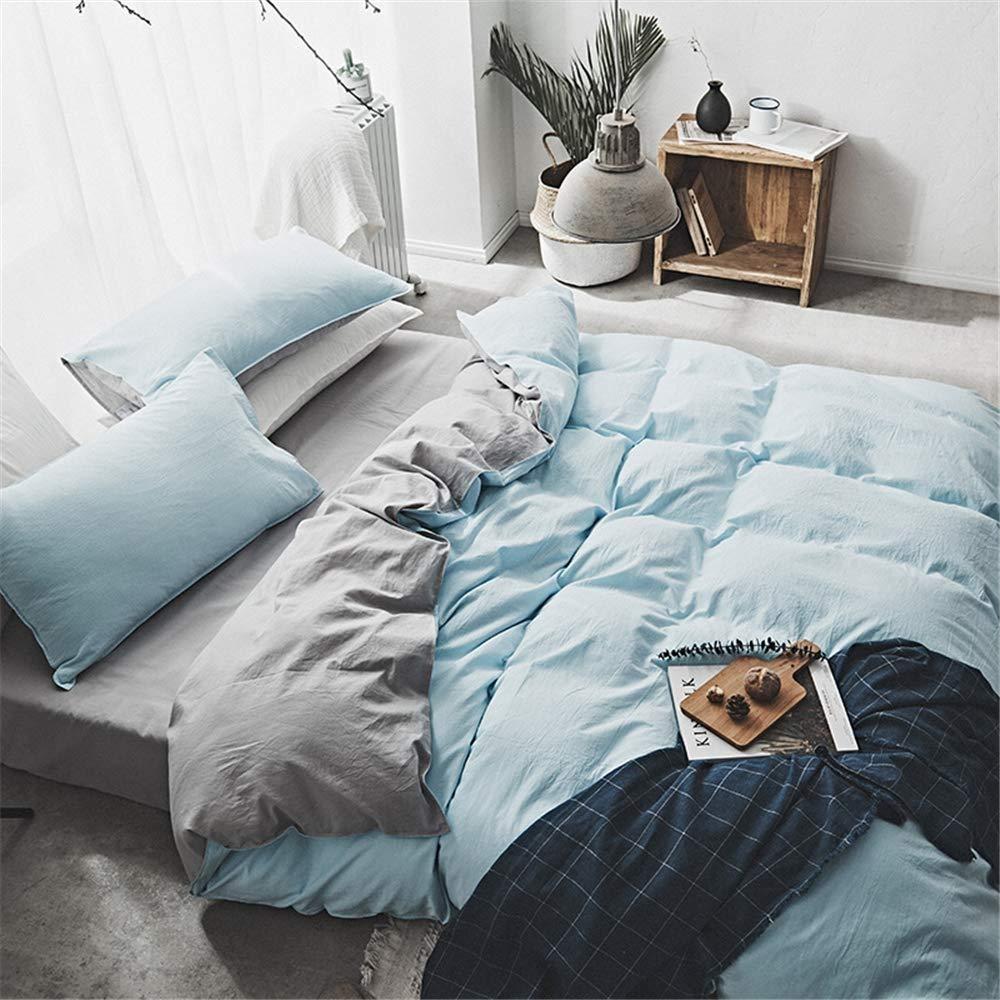 Ksainiy Home Textile-Simple Wash Cotton Four-Piece Double-fold Solid Color Double Quilt Cover Sheets Home Textile 220X240CM 100% Cotton Fabric (Color : B, Size : 180cm) by Ksainiy