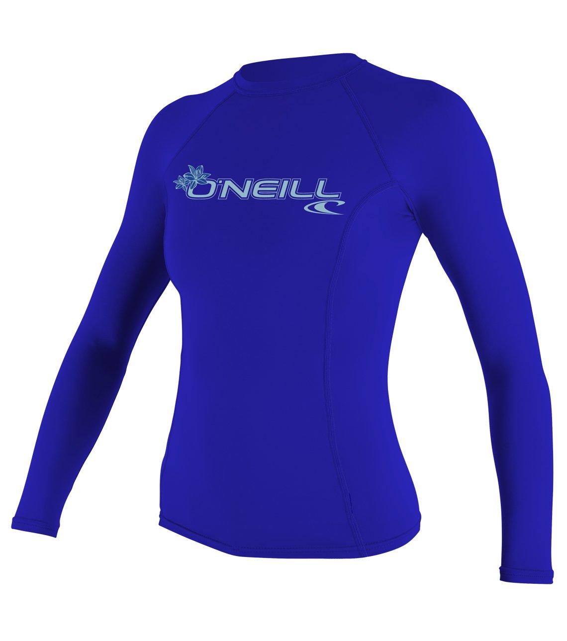 O'Neill  UV Sun Protection Womens Basic Skins Long Sleeve Crew Sun Shirt Rash Guard, Tahitian Blue, X-Small