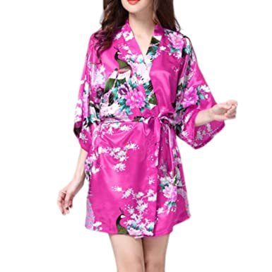 Image Unavailable. Image not available for. Color  Charming Women Bathrobe  Blossoms Peacock Kimono Silk Robes Gown-Rose Red 705cc7885