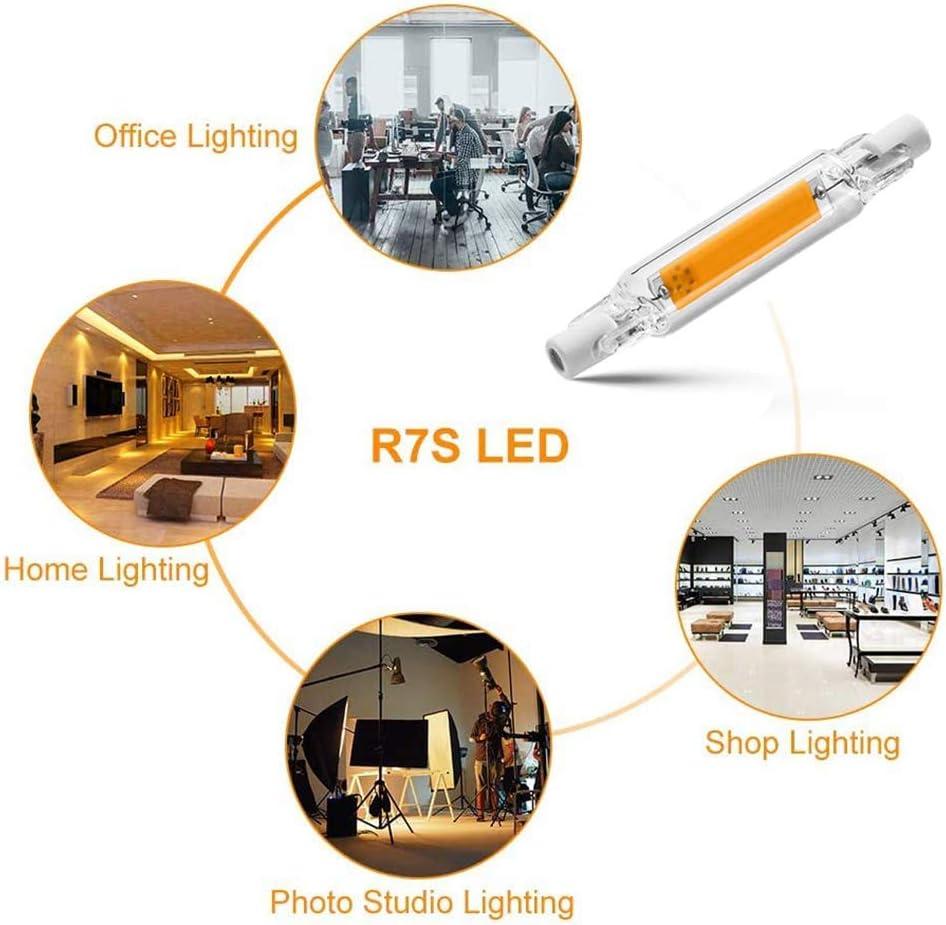 COMY R7S Bombilla LED 78mm 10W, 1000Lm, Tipo J,Lámpara De Reflector Lineal De Ahorro De Energía Equivalente A Lámpara Halógena De 100W, Paquete De 6 Cool White