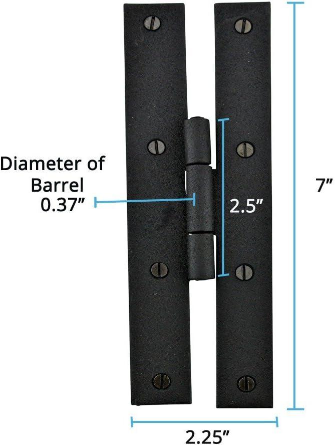 Renovators Supply Black Iron Flush Door Hinge H Forged 7 Inch High Rustproof Finish