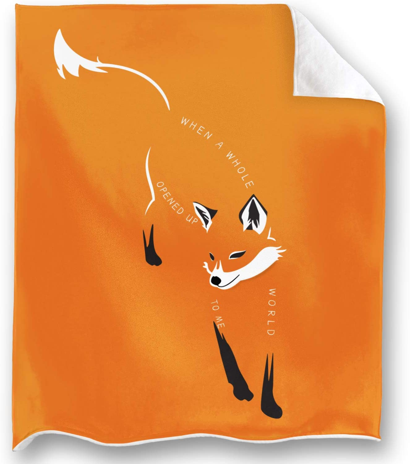 Loong Design Orange Fox Throw Blanket Super Soft, Fluffy, Premium Sherpa Fleece Blanket 50'' x 60'' Fit for Sofa Chair Bed Office Travelling Camping Gift