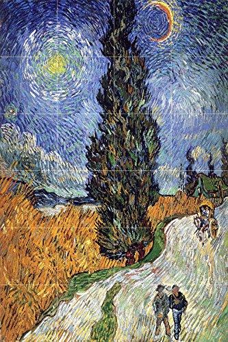 - Road with Cypress and Star by Vincent van Gogh Tile Mural Kitchen Bathroom Wall Backsplash Behind Stove Range Sink Splashback 4x6 4.25