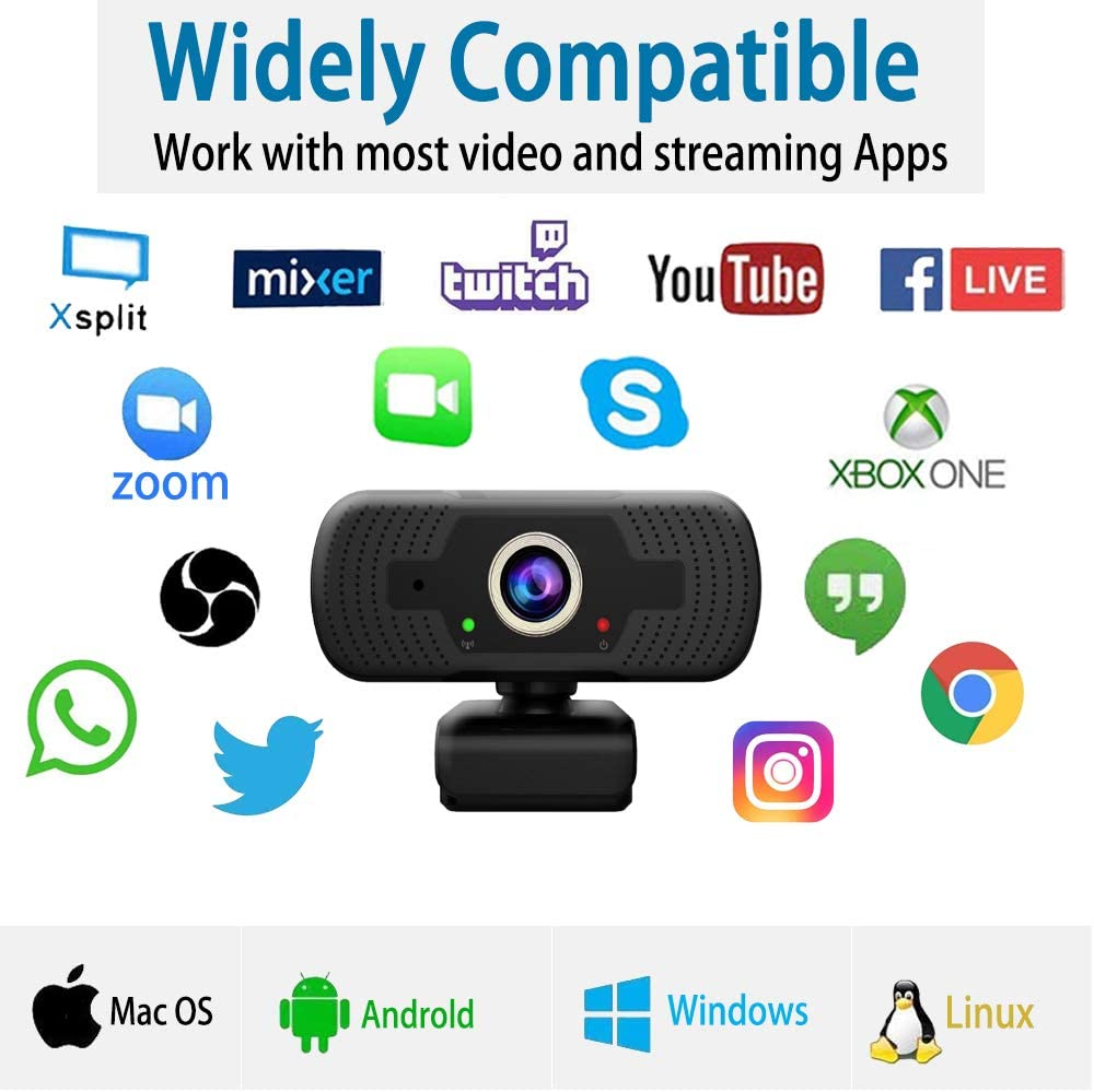 1080P Webcam with Microphone for Desktop,USB Webcam Live Streaming Laptop PC Computer Web Camera,Plug and Play,110-degree Wide-Angle Widescreen,is Suitable for Meetings,Online Courses and Video Calls