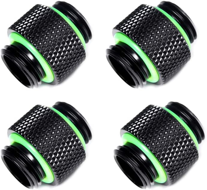 "Votono 4 Pack G1/4"" Male to Male Fitting Computer Water Coolling Couplings Standard Dual External Thread Connection Double Male Adapter PC Water Cooler Fitting (Black)"