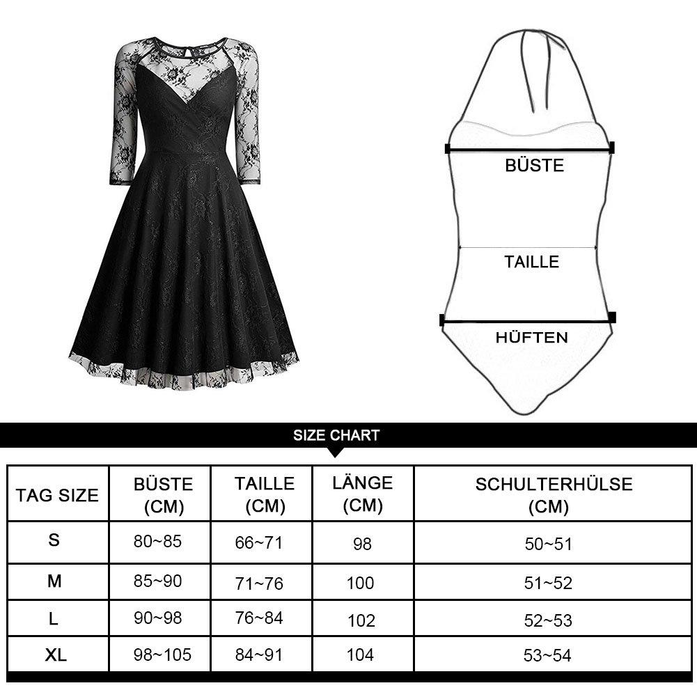 Vsecrety Damen Elegant Abendkleid 3/4 Arm Spitzenkleid A-Linie Swing ...