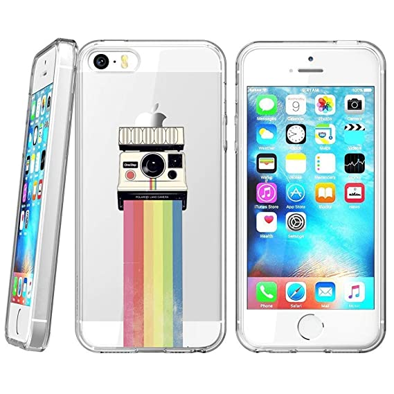 finest selection 13502 931bd Amazon.com: Soft TPU Case for iPhone SE 5s 5, Rubber Transparent ...
