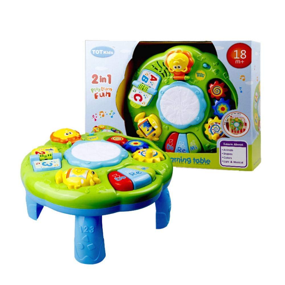 Musical Lerntisch Baby Spielzeug Frü he Bildung Musik Aktivitä t Zentrum Spieltisch Kleinkinder Spielzeug mit Piano Pat Drum Leuchten iPenty
