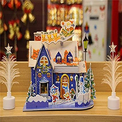 bazaar diy building puzzle model christmas decoration dollhouse educational toy for children christmas gift - Dollhouse Christmas Decorations