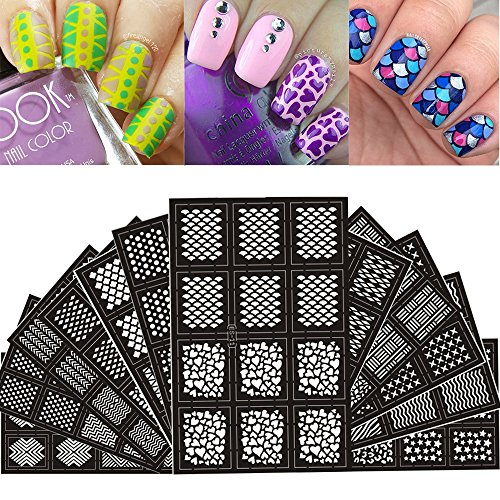 Ejiubas 144 Pieces 24 Different Designs Nail Vinyls Nail Stencil Sheets Easy Nail Art Nail Guides Nail Stickers Set 12 Sheets (Nail Stickers Stencils)