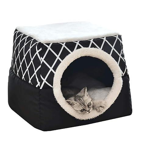 YunNasi Casas para Gato Cueva para Animales Casa de Gato Cama Cueva para Perros Cama para Gatos con Cojín Extraíble Lavable Cama para Perros Cálida en ...