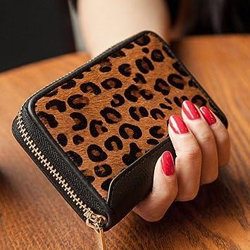 Corea Leopardo con cremallera mujer mini tarjeta monedero ...