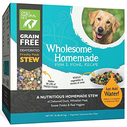 Only Natural Pet Wholesome Homemade Stew Dehydrated Dog Food - Human Grade Formula That Contains Real Wholesome Nutrition, Low Glycemic, Non-GMO - Fish & Fowl 18 lb Box (Makes 56 lbs of Food) by Only Natural Pet