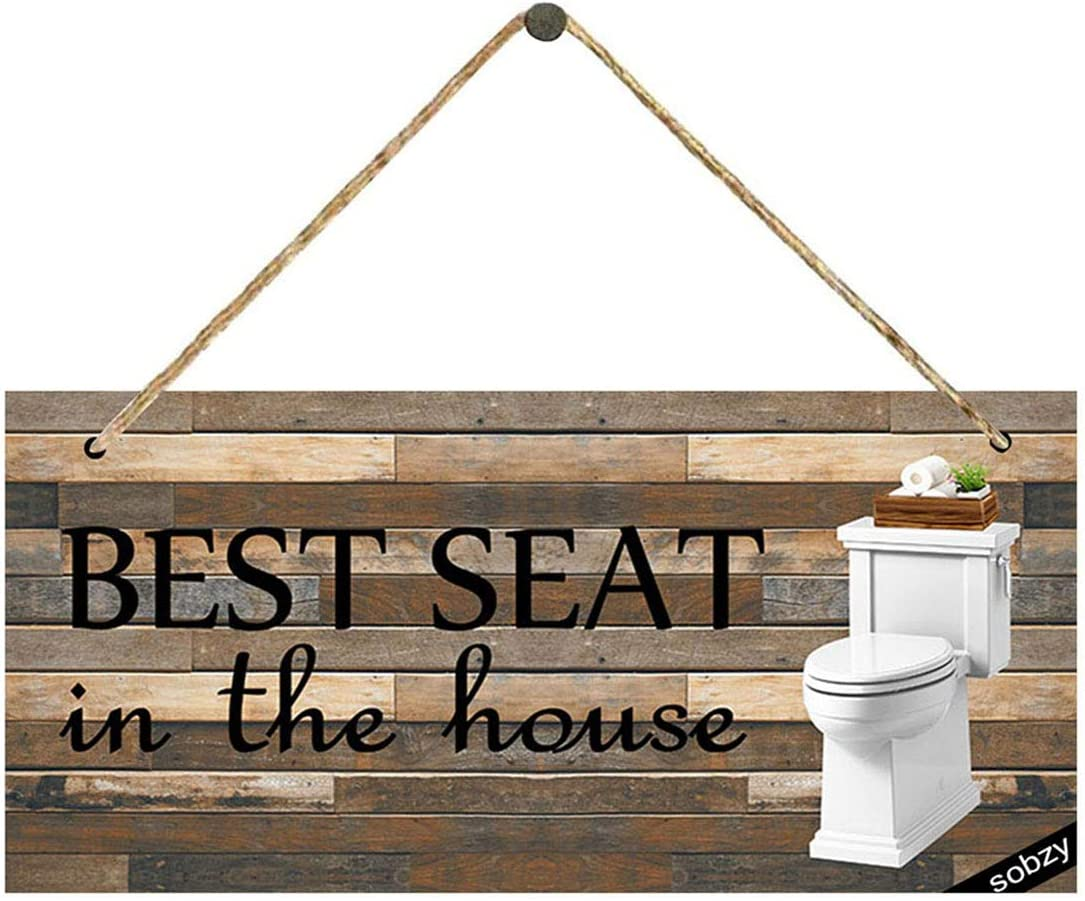 funny bathroom sign Best seat in the house bathroom sign rustic sign kids bathroom