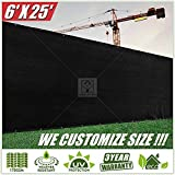 ColourTree 6' x 25' Fence Privacy Screen Windscreen Cover Fabric Shade Tarp Plant Greenhouse Netting Mesh Cloth Black - Commercial Grade 170 GSM - Heavy Duty - 3 Years Warranty - CUSTOM SIZE AVAILABLE