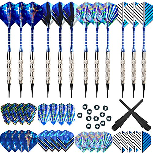 Bullout Professional Soft Tip Darts Set,12 Pcs 18g Plastic Tipped Dart, Stainless Steel Metal Barrels, Blue Aluminum Rods Shafts, 24 Flights(6 Style), 60 Safety Tip Points For Electronic Dartboard (Dartboard Cabinets Custom)