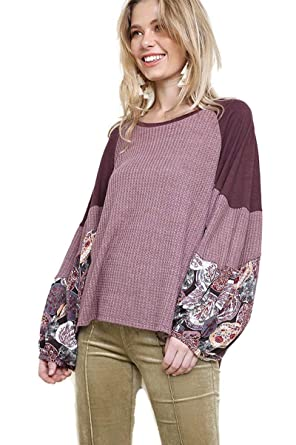 728d56c69f895d umgee USA Women's Floral Print Sleeve Waffle Knit Top (Large, Wine)