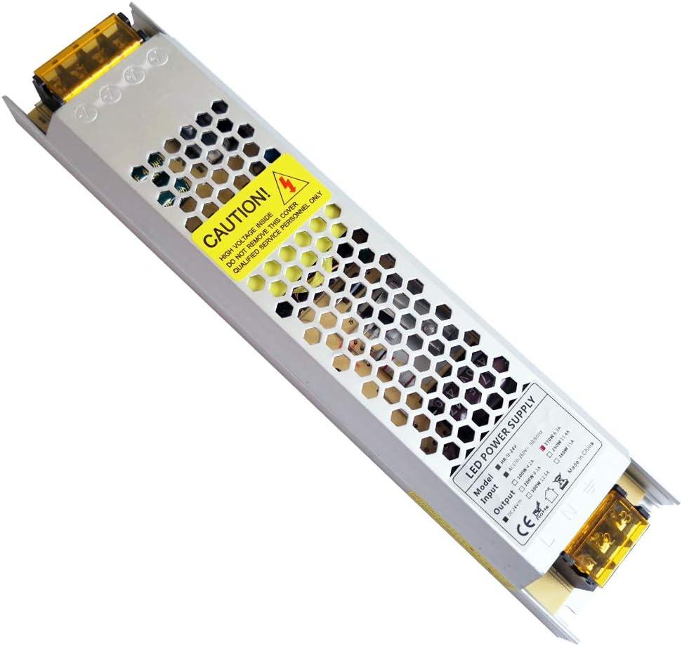 YAYZA! 1-Paquete Controlador de LED Compacto Ultra-Fino IP20 24V 6.25A 150W Adaptador para Interiores Modulo Transformador Universal AC DC para Suministro Eléctrico