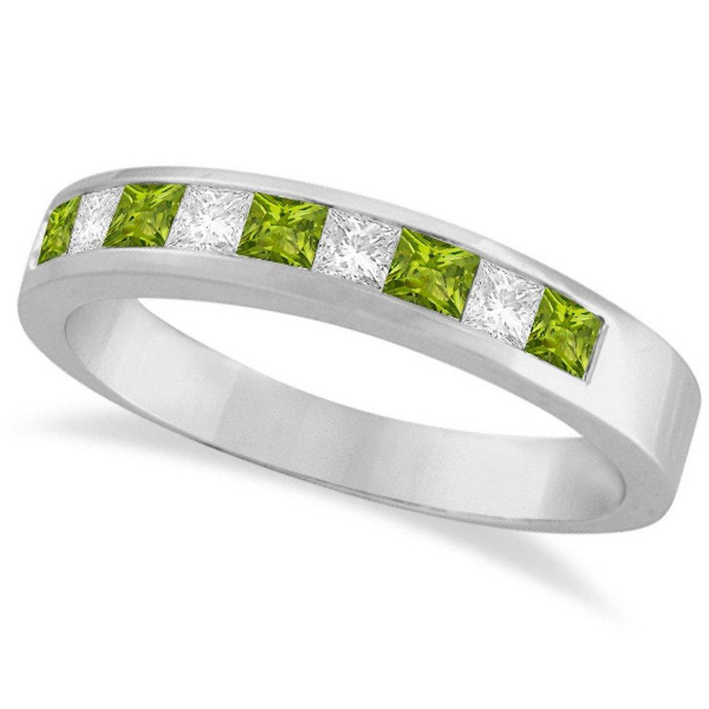 Princess Channel-Set Diamond and Peridot Ring Band 14K White Gold