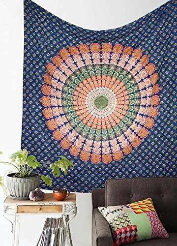 61Kr7knMDFL - Craft N Craft India Wall Tapestries - Hanging Mandala Tapestry – Bohemian Beach Picnic Blanket – Hippie Decorative & Psychedelic Dorm Decor tapestry (Blue, Queen)