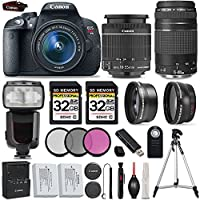 Canon EOS Rebel T5i DSLR CameraFull HD 1080p + Canon 18-55mm IS II Lens + Canon 75-300mm III Lens + .43x Wide Angle Lens + 2.2X Telephoto Lens + 3PC Filter Kit (UV-CPL-FLD) - International Version