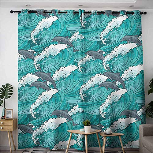 Thermal Insulated Blackout Curtains,Sea Animals Wavy Ocean with Dolphins Windy Surfing Doodle Style Art Print,Room Darkening, Noise Reducing,W72x84L,Charcoal Grey Teal White]()