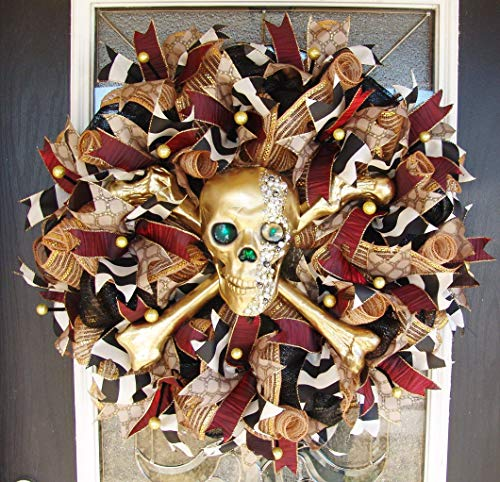 Gasparilla XL Deluxe Designer Light Up Skull and Crossbones Pirate Deco Mesh Front Door Wreath, Gold Bejeweled, Treasure Jewels, Handcrafted, Skeleton