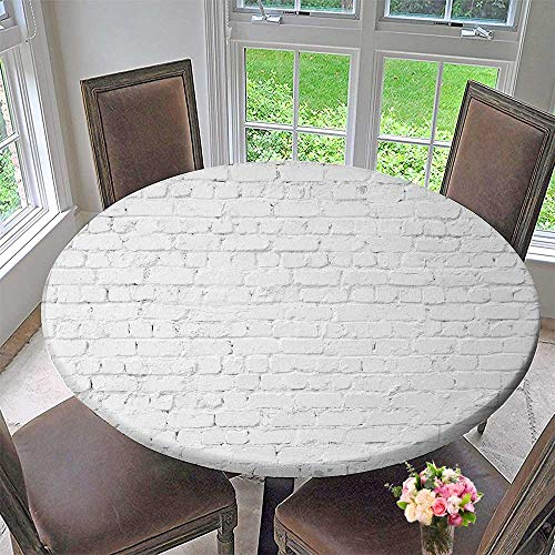 (PINAFORE HOME Picnic Circle Table Cloths loft Styled White Brick w for Family Dinners or Gatherings 35.5