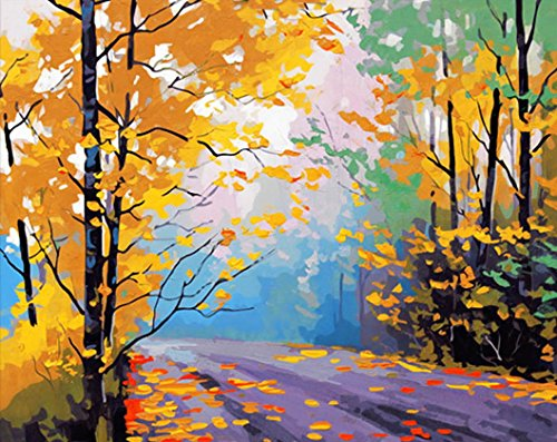 MailingArt Wooden Framed Paint By Number No Mixing / No Blending Linen Canvas DIY Painting - Autumn Maple