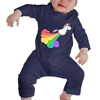 57fd328cc Fart Rainbow Unicorn Baby Cotton Bodysuits Onesies Long-Sleeve Bodysuit
